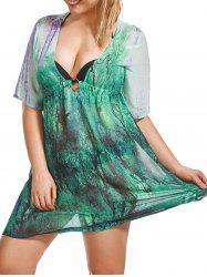Plus Size Graphic Plunging Cover Up Dress