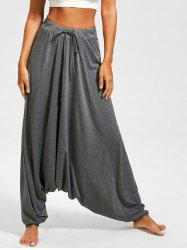 Drawstring Drop Bottom Harem Pants - GRAY