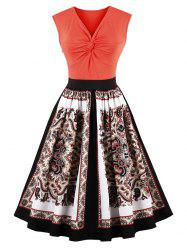 Front Knot Tribal Print Vintage Dress - ORANGE RED