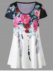 Plus Size Floral Longline Top - COLORMIX