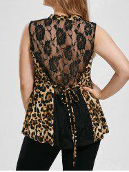 Plus Size Leopard Sleeveless Sheer Blouse