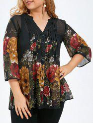 Plus Size Pintuck Sheer Floral Blouse - BLACK
