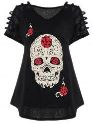 Plus Size Cut Out Skull Print Tee - BLACK