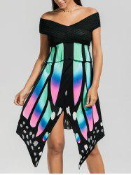 Asymmetric Butterfly Print Off The Shoulder Dress