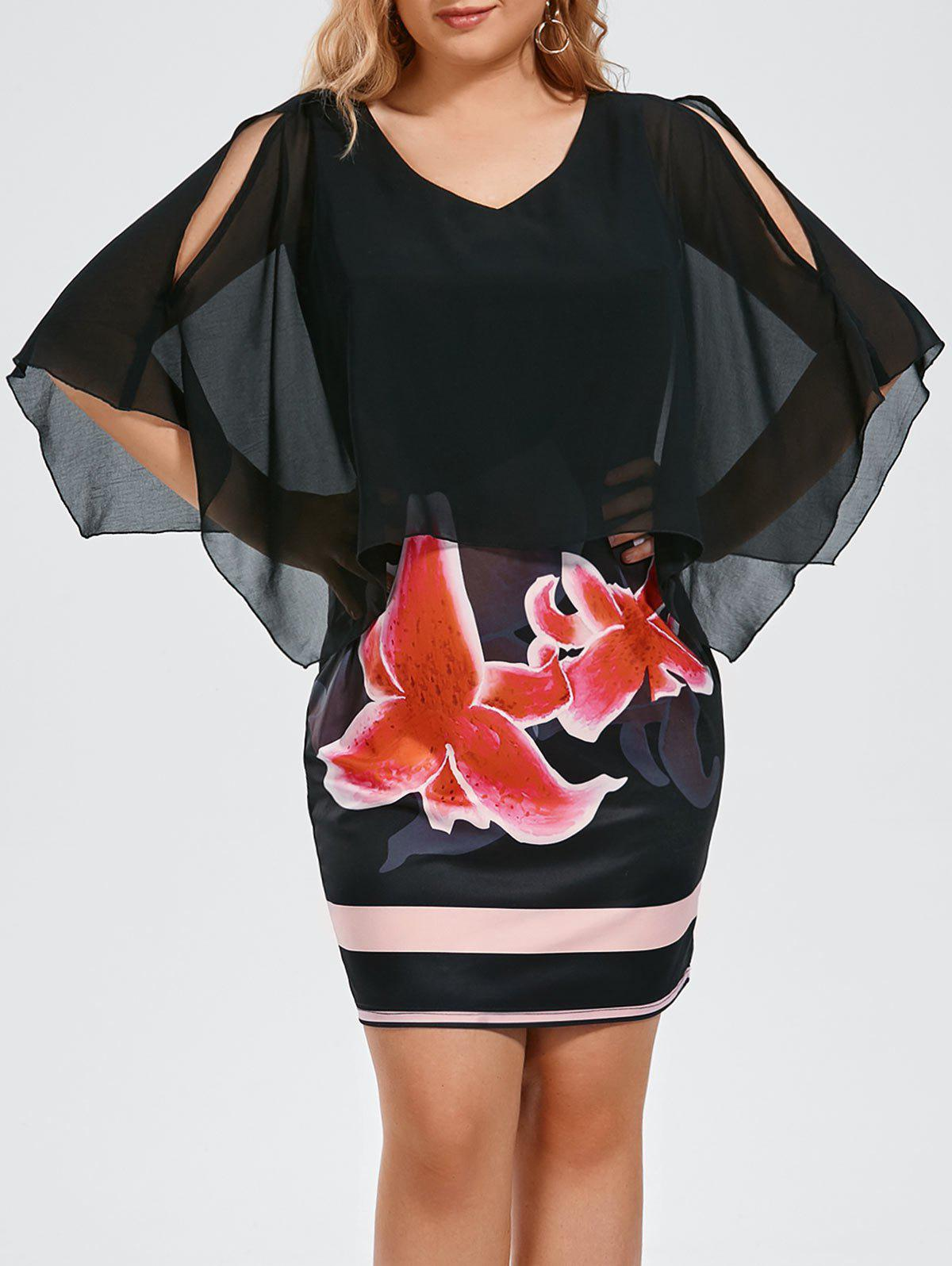 Floral Plus Size V Neck Sheath Capelet DressWOMEN<br><br>Size: XL; Color: BLACK; Style: Casual; Material: Polyester,Spandex; Silhouette: Sheath; Dresses Length: Mini; Neckline: V-Neck; Sleeve Length: Half Sleeves; Pattern Type: Floral; With Belt: No; Season: Fall,Spring,Summer; Weight: 0.3230kg; Package Contents: 1 x Dress;