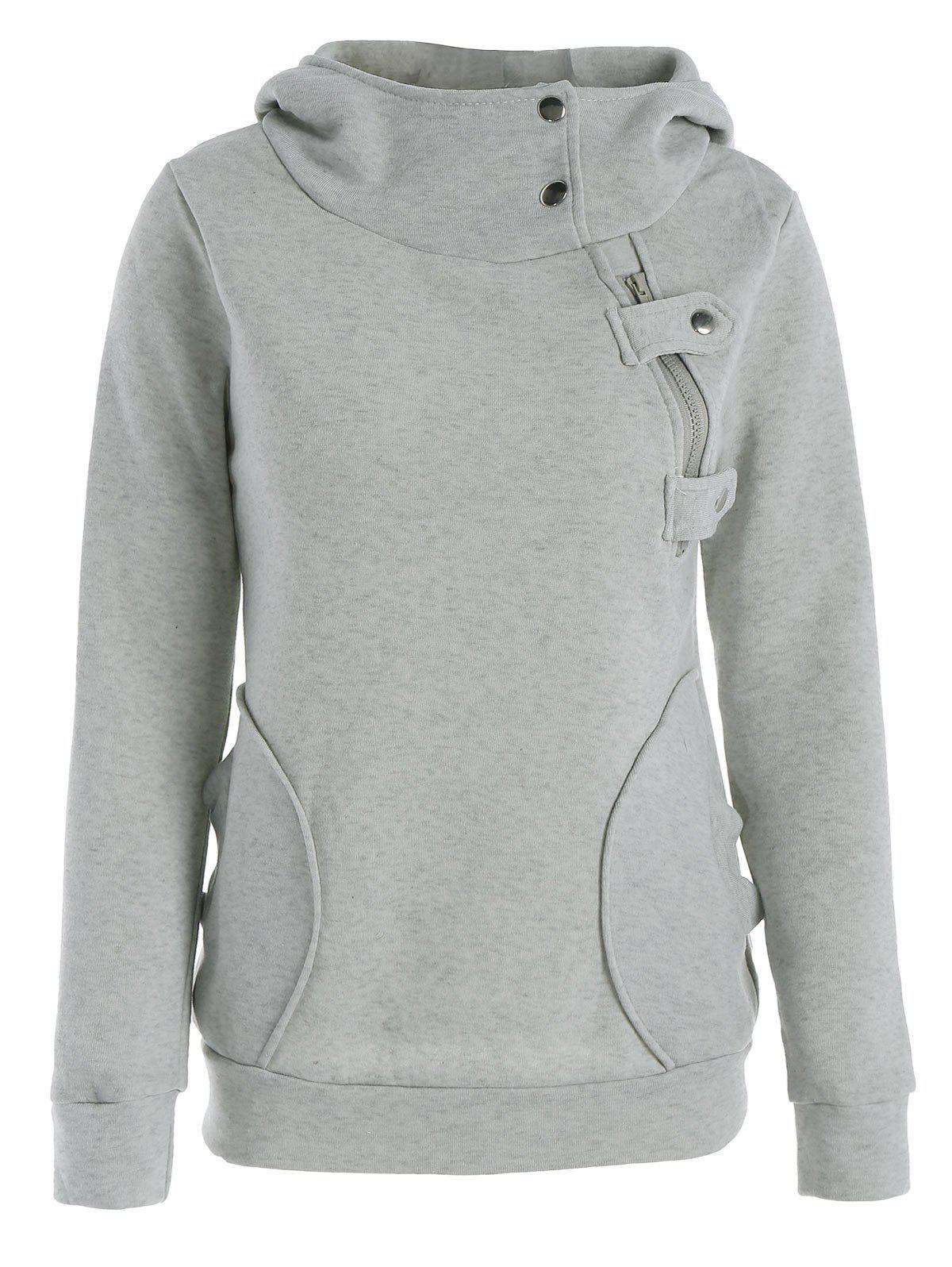 Image For Long Sleeve Pockets Inclined Zipper Pullover Hoodie
