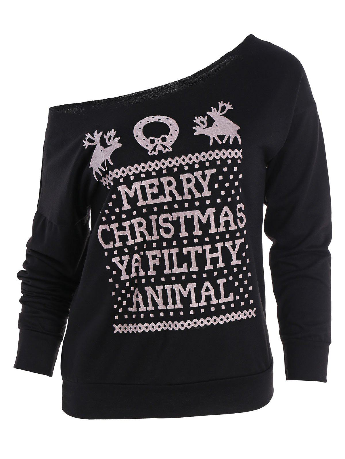 Merry Christmas Print Skew Neck Pullover SweatshirtWOMEN<br><br>Size: 2XL; Color: BLACK; Material: Polyester; Shirt Length: Regular; Sleeve Length: Full; Style: Fashion; Pattern Style: Letter; Season: Fall; Weight: 0.4800kg; Package Contents: 1 x Sweatshirt;