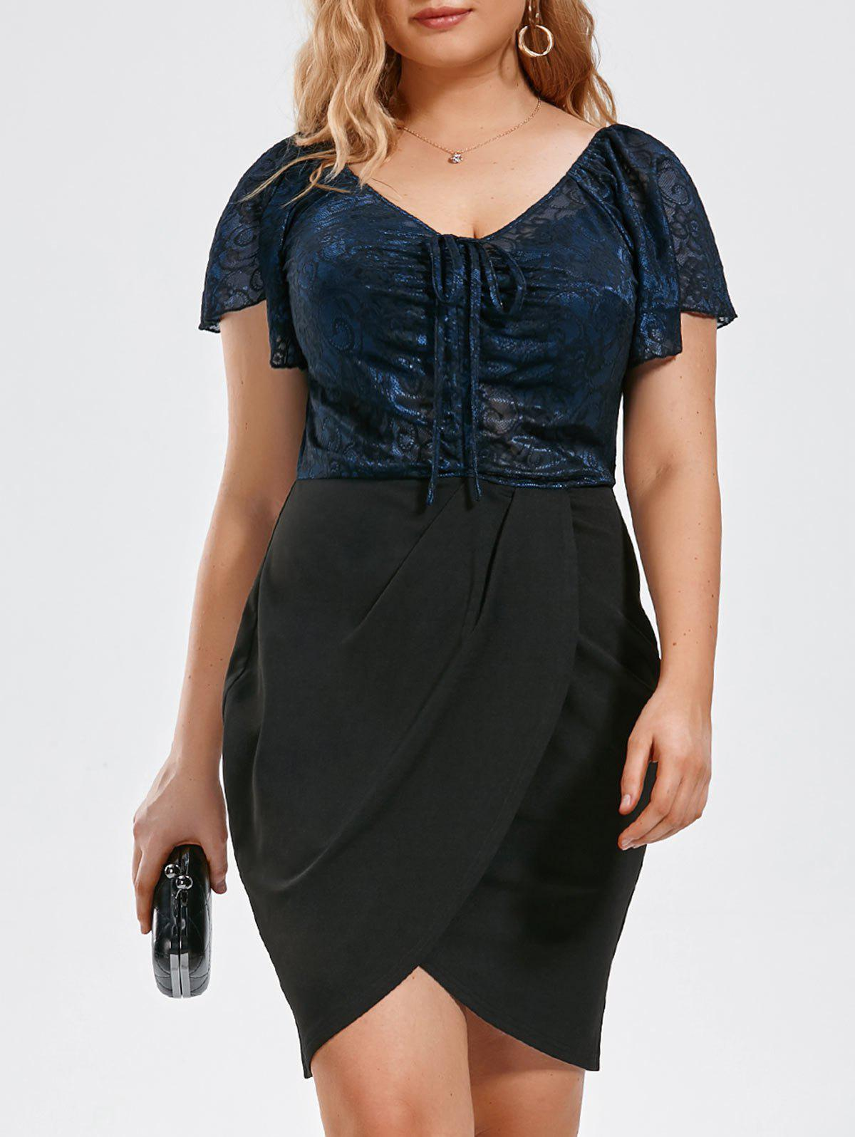 Plus Size Tiny Floral Sheer Tulip DressWOMEN<br><br>Size: 2XL; Color: BLUE AND BLACK; Style: Brief; Material: Polyester,Spandex; Silhouette: Sheath; Dresses Length: Knee-Length; Neckline: V-Neck; Sleeve Length: Short Sleeves; Pattern Type: Floral; With Belt: No; Season: Summer; Weight: 0.3120kg; Package Contents: 1 x Dress;