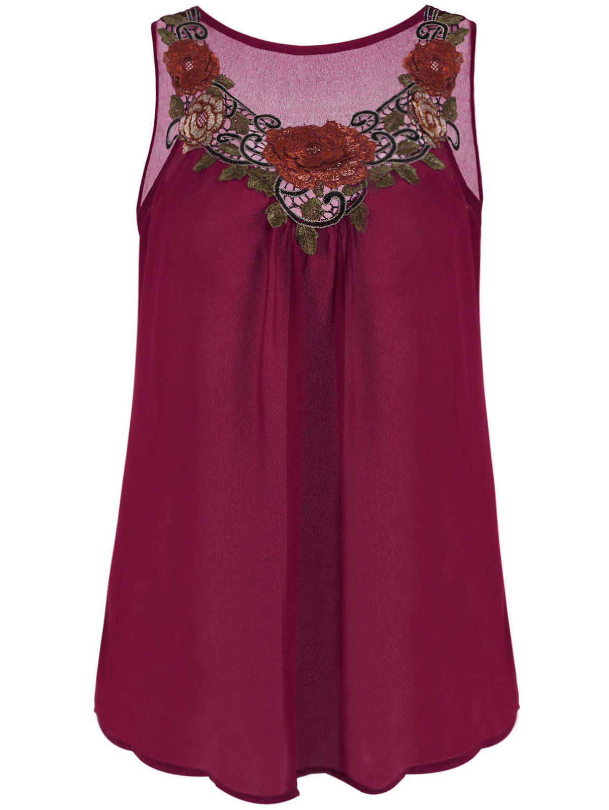 Embroidered Sleeveless Plus Size Chiffon TopWOMEN<br><br>Size: 4XL; Color: WINE RED; Material: Polyester; Shirt Length: Regular; Sleeve Length: Sleeveless; Collar: Round Neck; Style: Fashion; Season: Summer; Pattern Type: Floral; Weight: 0.1500kg; Package Contents: 1 x Top;
