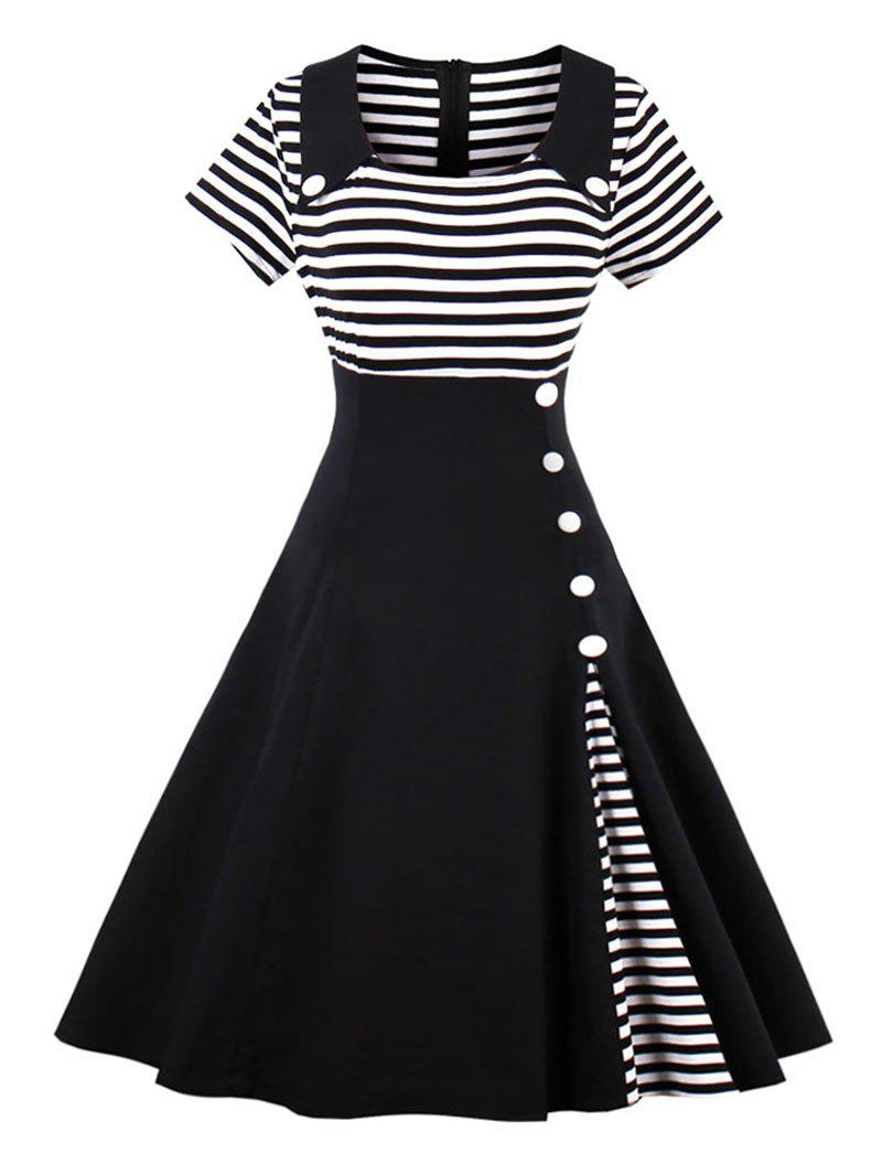Vintage Buttoned Stripe Pin Up DressWOMEN<br><br>Size: M; Color: BLACK; Style: Vintage; Material: Cotton,Polyester; Silhouette: A-Line; Dresses Length: Knee-Length; Neckline: Turn-down Collar; Sleeve Length: Short Sleeves; Embellishment: Button; Pattern Type: Striped; With Belt: No; Season: Summer; Weight: 0.3500kg; Package Contents: 1 x Dress;