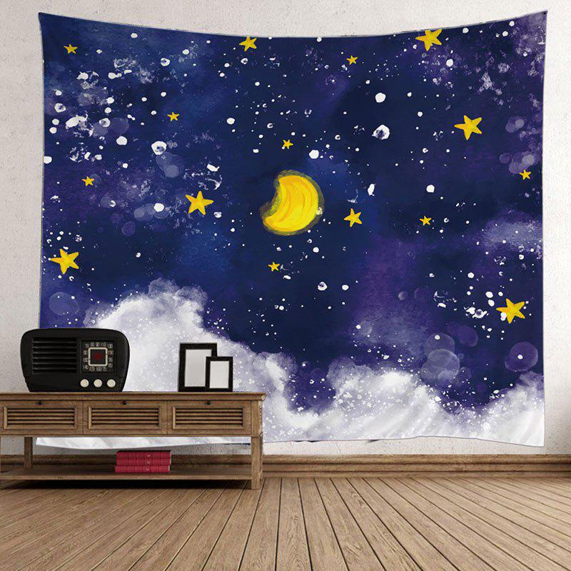 Moon Star Oil Painting Wall Hanging TapestryHOME<br><br>Size: W59 INCH * L59 INCH; Color: COLORFUL; Style: Romantic; Material: Polyester; Feature: Removable,Washable; Shape/Pattern: Moon,Star; Weight: 0.5000kg; Package Contents: 1 x Tapestry;