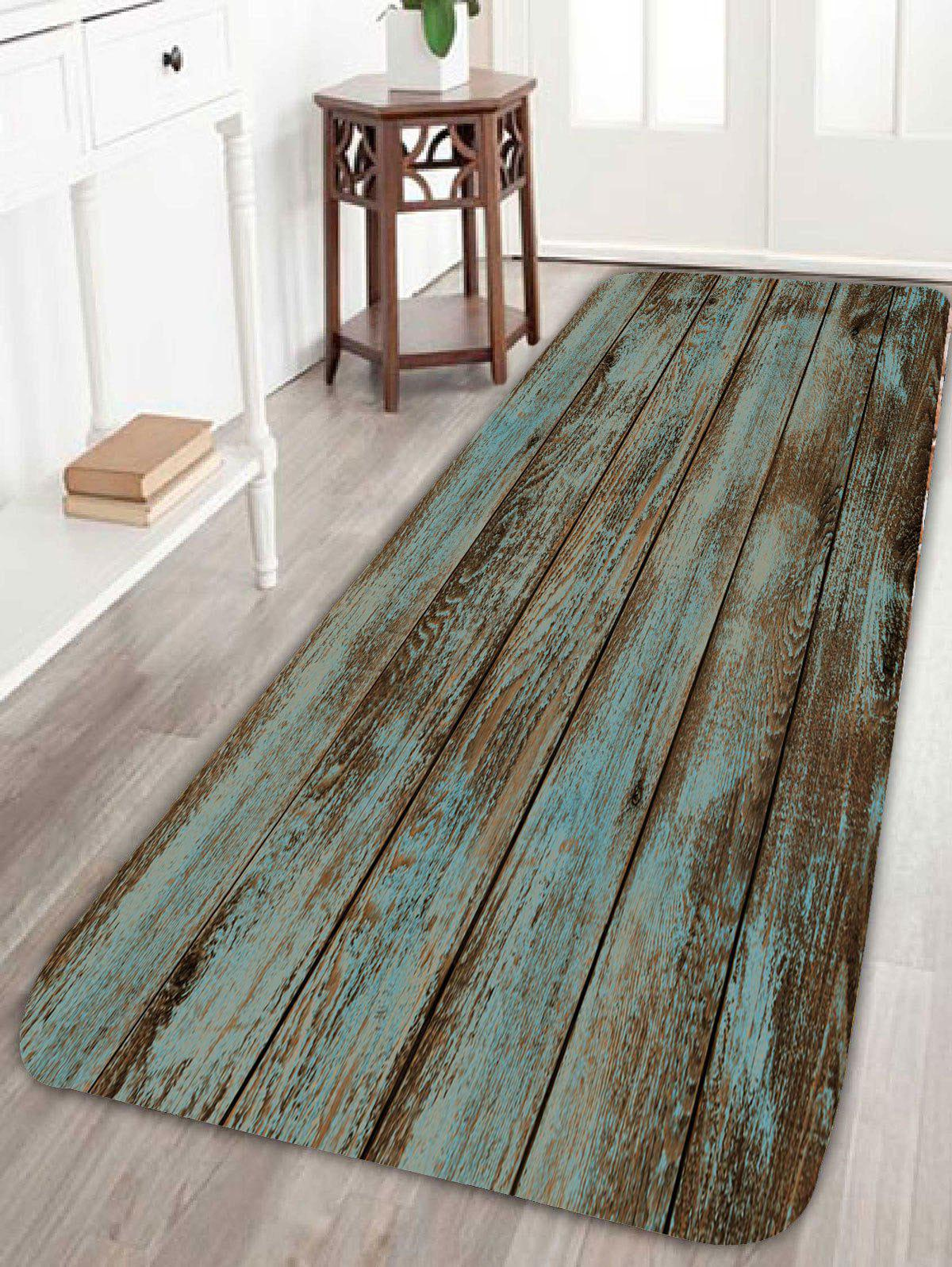 Vintage Wood Grain Printed Bathroom RugHOME<br><br>Size: W16 INCH * L47 INCH; Color: GREEN; Products Type: Bath rugs; Materials: Coral FLeece; Pattern: Print; Style: Vintage; Shape: Rectangle; Package Contents: 1 x Rug;