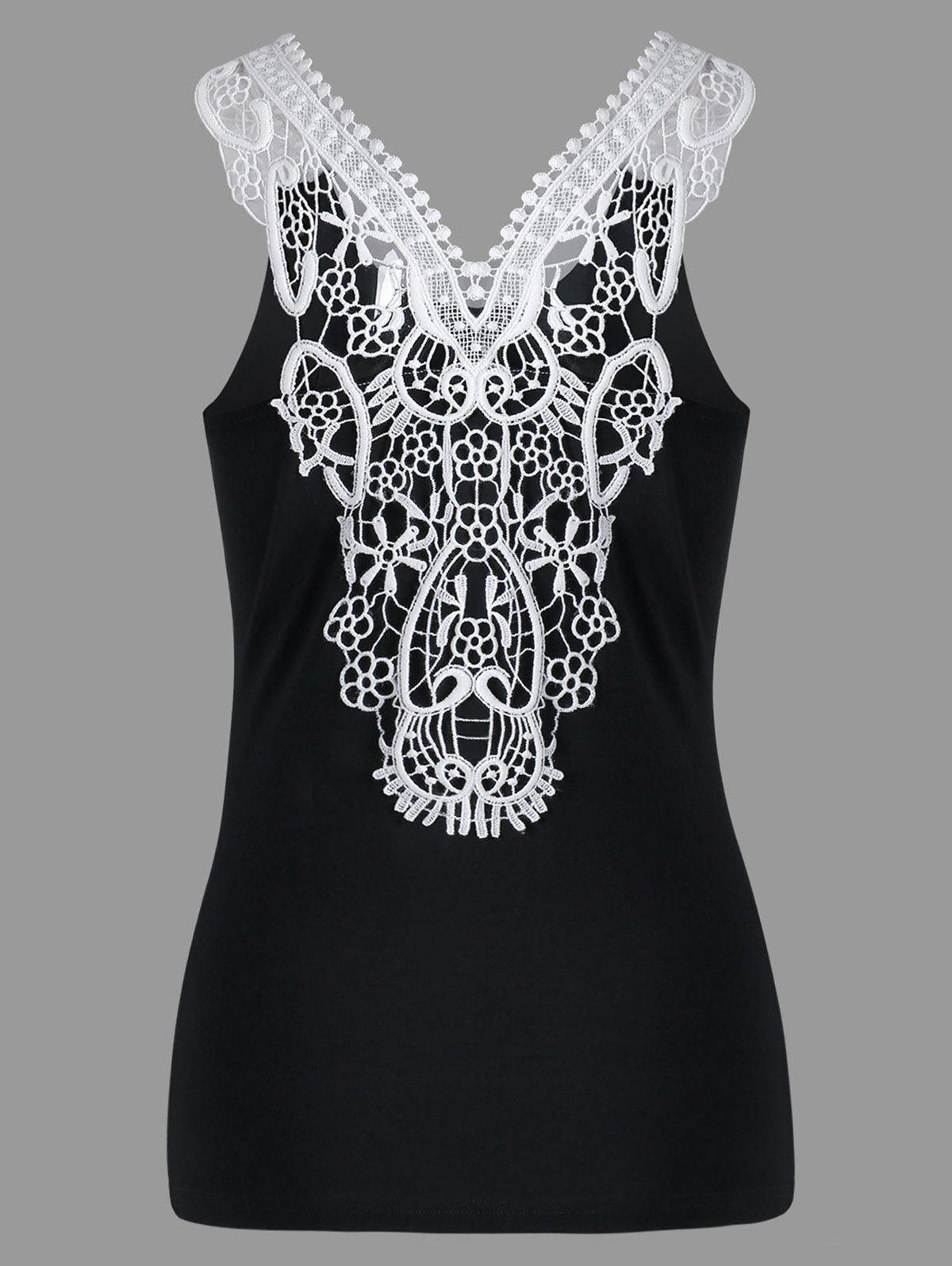 Cutwork Lace Trim Slim Tank TopWOMEN<br><br>Size: 2XL; Color: BLACK; Material: Rayon,Spandex; Shirt Length: Short; Pattern Type: Others; Embellishment: Lace; Style: Casual; Weight: 0.1900kg; Package Contents: 1 x Tank Top;