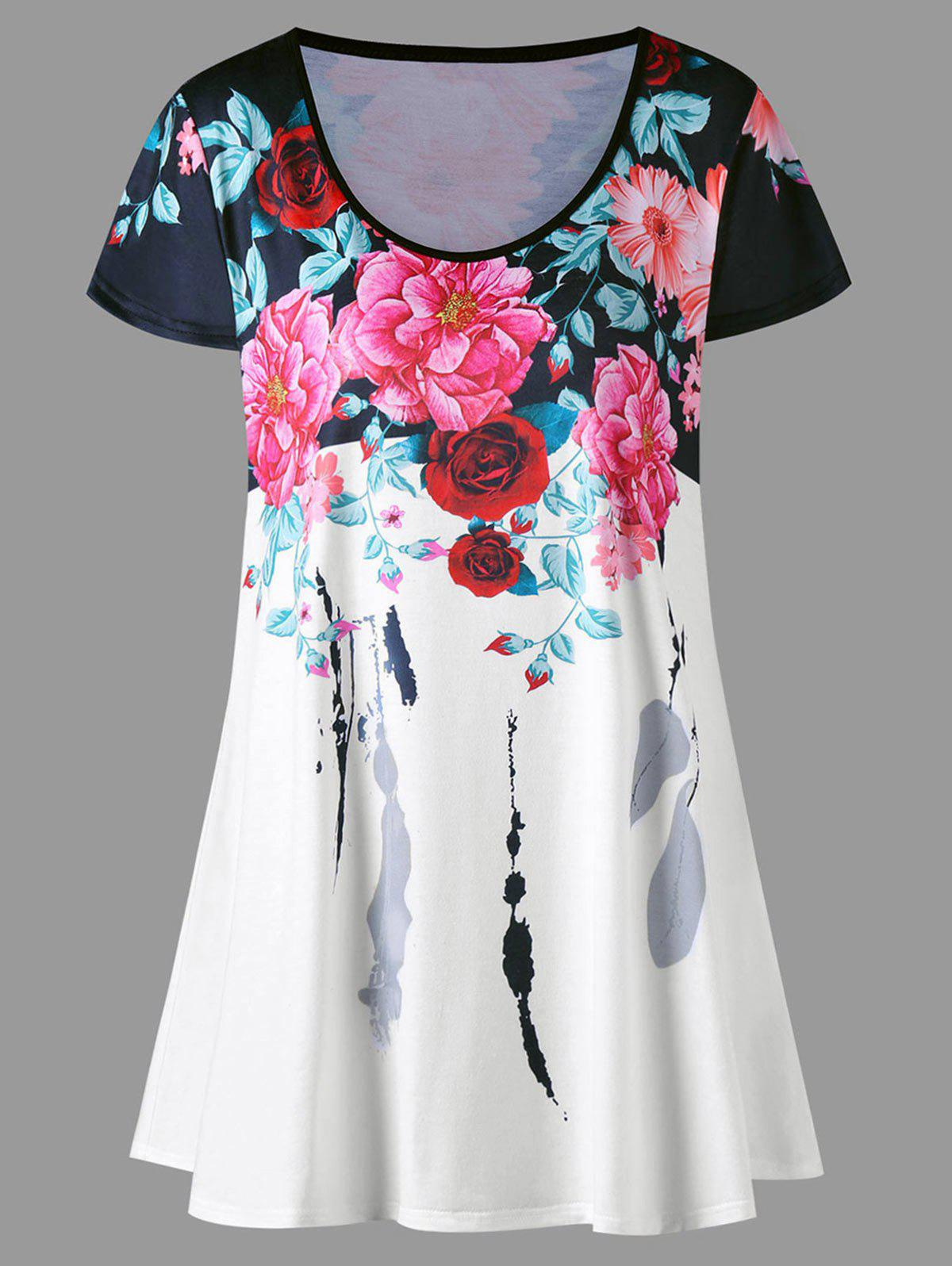 Plus Size Floral Longline TopWOMEN<br><br>Size: 5XL; Color: COLORMIX; Material: Polyester,Spandex; Shirt Length: Long; Sleeve Length: Short; Collar: Scoop Neck; Style: Casual; Season: Summer; Pattern Type: Floral; Weight: 0.2300kg; Package Contents: 1 x T-shirt;
