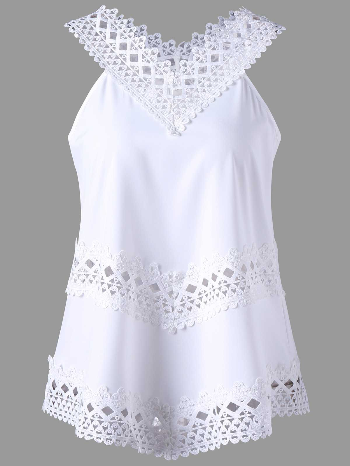 Crochet Panel V Neck Tank TopWOMEN<br><br>Size: XL; Color: WHITE; Material: Polyester; Shirt Length: Regular; Pattern Type: Geometric; Style: Casual; Weight: 0.2000kg; Package Contents: 1 x Top;