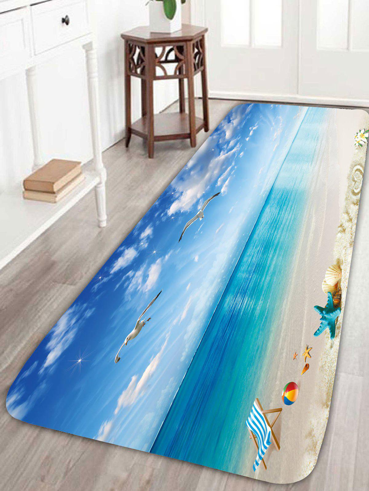 Beach Style Sea Gull Skidproof Area RugHOME<br><br>Size: W16 INCH * L47 INCH; Color: BLUE; Products Type: Bath rugs; Materials: Coral FLeece; Pattern: Animal; Style: Beach Style; Shape: Rectangle; Package Contents: 1 x Rug;