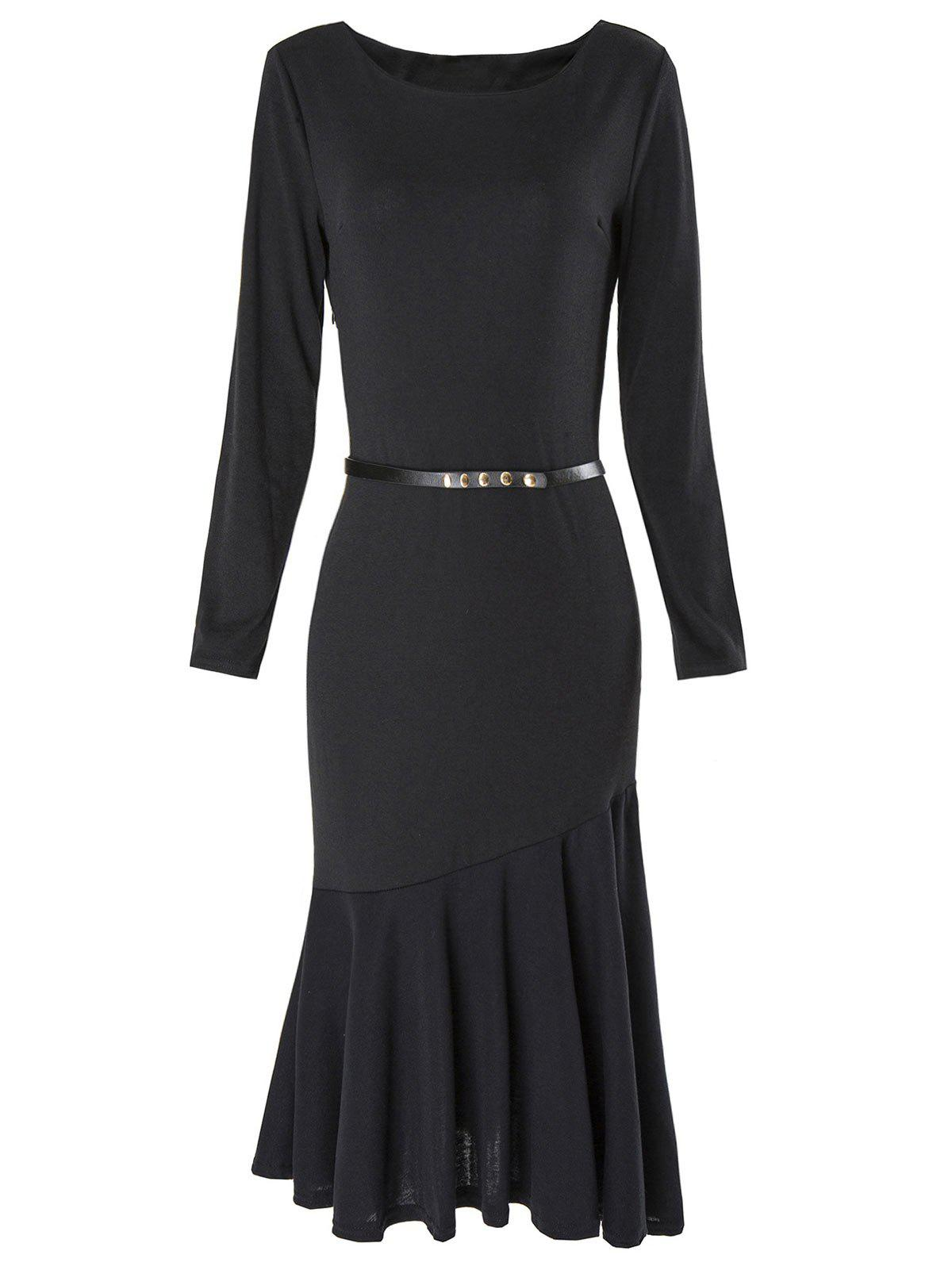 Black Xl Boat Neck Long Sleeve Bodycon Mermaid Dress