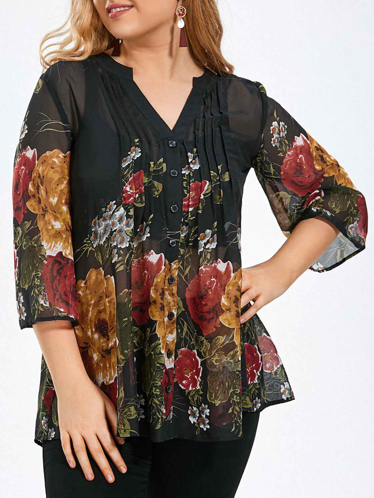 Plus Size Pintuck Sheer Floral BlouseWOMEN<br><br>Size: 2XL; Color: BLACK; Material: Polyester; Shirt Length: Long; Sleeve Length: Three Quarter; Collar: V-Neck; Style: Casual; Season: Summer; Pattern Type: Floral; Weight: 0.1700kg; Package Contents: 1 x Blouse;