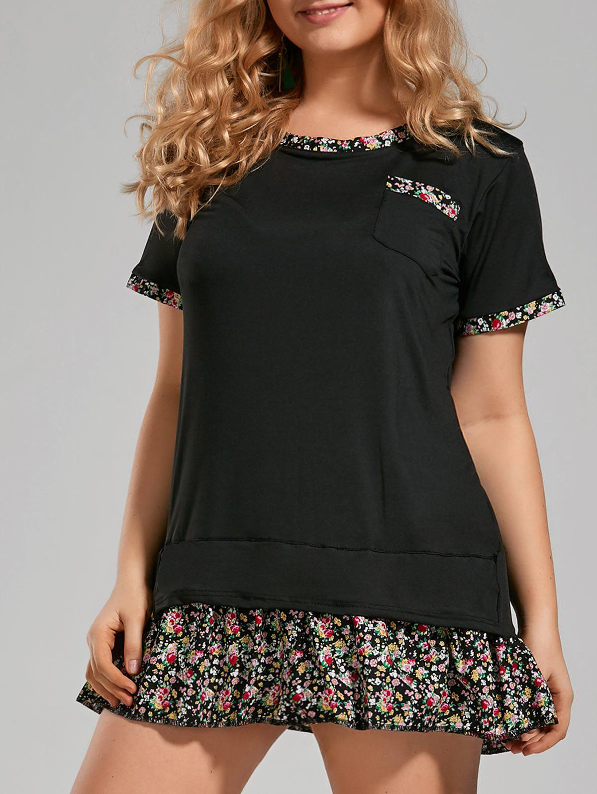 Ruffle Floral Printed Plus Size Tunic TopWOMEN<br><br>Size: 4XL; Color: BLACK; Material: Cotton,Cotton Blends; Shirt Length: Long; Sleeve Length: Short; Collar: Scoop Neck; Style: Casual; Season: Spring,Summer; Pattern Type: Floral; Weight: 0.2600kg; Package Contents: 1 x Top;