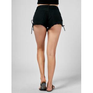 Shorts denim à lacets -