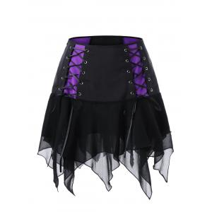 Lace Up Mini High Waist Skirt