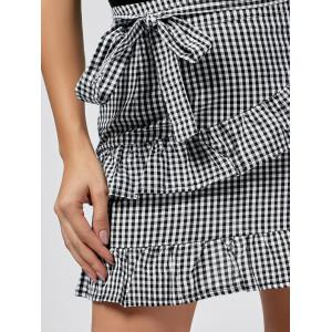 Ruffle Trim Checked Jupe - Blanc-Noir S