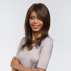 Long Side Bang Glossy Natural Straight Synthetic Wig