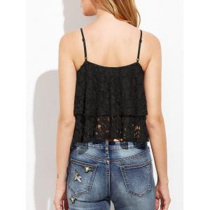 Lace Layer Flounce Cami Top - BLACK XL