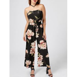 Strapless Drawstring Floral Wide Leg Jumpsuit - Black - Xl
