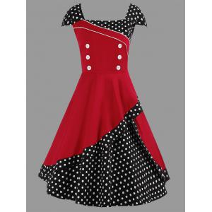 Midi Polka Dot Vintage Plus Size Skater Dress