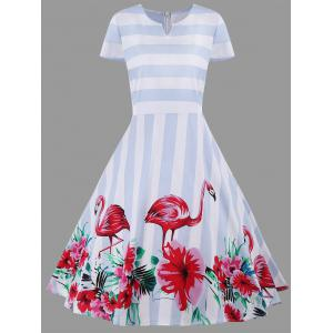 A Line Floral Striped Plus Size Dress