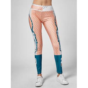 Grid Graphic Ankle Length Leggings - Multi - One Size