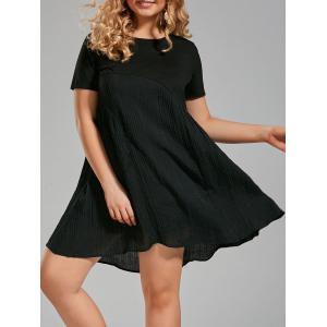 Plus Size Crinkle Panel Smock A Line T-shirt Dress - Black - 2xl