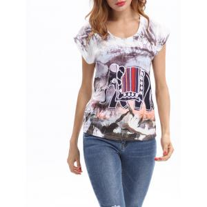 Elephant Print Round Neck T-Shirt
