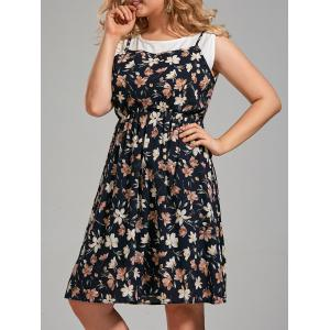Plus Size Sleeveless Floral Printed  Knee Length Dress