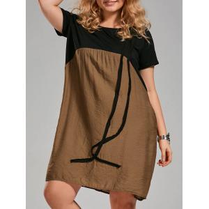 Color Block Knee Length Plus Size Smock Dress - Brown - 5xl