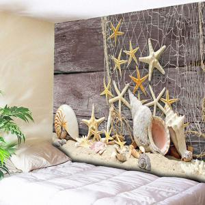 Wall Hanging Beach Style Wood Tapestry - Light Coffee - W59 Inch * L79 Inch
