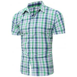 Short Sleeve Bold Plaid Shirt