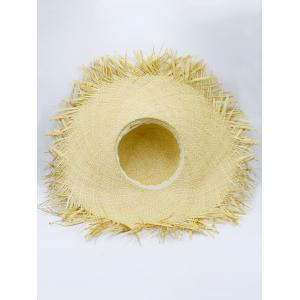 Beaded Decoration Sun Floppy Straw Hat - YELLOW