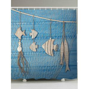 Fishing Net Wood Grain Fish Printed Shower Curtain - Light Blue - W71 Inch * L79 Inch