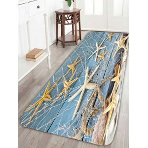 Starfish Fishing Net Wood Grain Print Area Rug