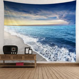 Home Decor Beach Sunset Pattern Wall Art Tapestry - Light Blue - W51 Inch * L59 Inch
