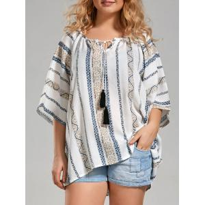 Plus Size Tribal Printed Bohemian Top with Tassel - White - 3xl