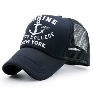 Mesh Boat Anchor Patterned Baseball Cap - Black - L