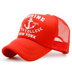 Mesh Boat Anchor Patterned Baseball Cap - Red