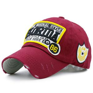 Badges Letters Patterned Baseball Cap - Burgundy - 42