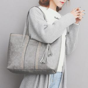 Sac à bandoulière Faux Leather Tassel - Gris