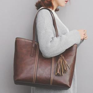 Faux Leather Tassel Shoulder Bag - Brown