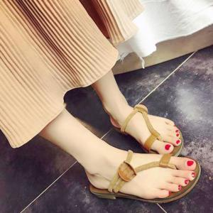 Flat Heel Toe Ring Slippers - Light Brown - 38