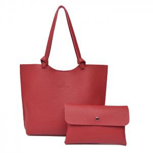 Faux Leather Shoulder Bag and Crossbody Bag - Wine Red